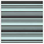 [ Thumbnail: Turquoise and Black Colored Striped Pattern Fabric ]