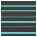 [ Thumbnail: Turquoise and Black Colored Stripes/Lines Pattern Fabric ]