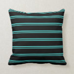 [ Thumbnail: Turquoise and Black Colored Stripes/Lines Pattern Throw Pillow ]