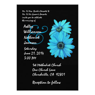Turquoise and Black Daisy Wedding Invitation