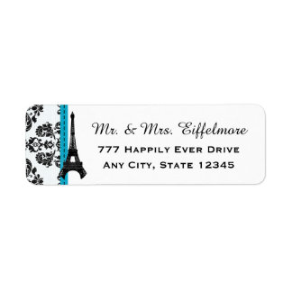 Turquoise and Black Damask Eiffel Tower Label