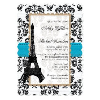 Turquoise and Black Damask Eiffel Tower Wedding Card
