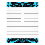 Turquoise and Black Damask Matching Recipe Paper Full Color Flyer