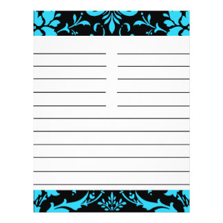 """Turquoise and Black Damask Matching Recipe Paper 8.5"""" X 11"""" Flyer"""