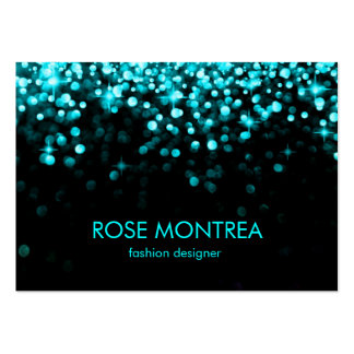 Turquoise and Black Falling Glitter Business Card