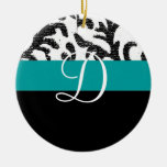 Turquoise and Black Floral Monogram Double-Sided Ceramic Round Christmas Ornament