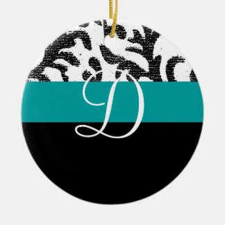 Turquoise and Black Floral Monogram Christmas Ornaments