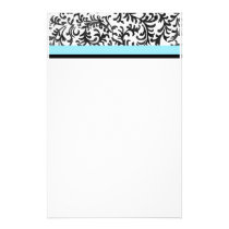 Turquoise and Black Floral Pattern Stationery