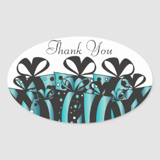 Turquoise and Black Gift Presents   Customize Oval Sticker