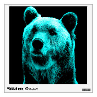 Turquoise and Black Grizzly Bear Portrait Wall Sticker