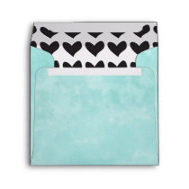 Turquoise and Black Hearts Envelope