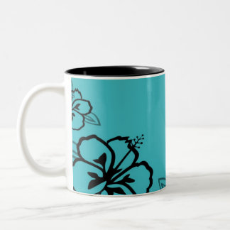Turquoise and Black Hibiscus Print Two-Tone Coffee Mug