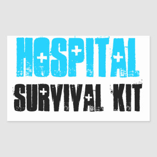 Turquoise and Black Hospital Survival Kit Labels Stickers