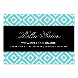 Turquoise and Black Ikat Diamonds Large Business Card