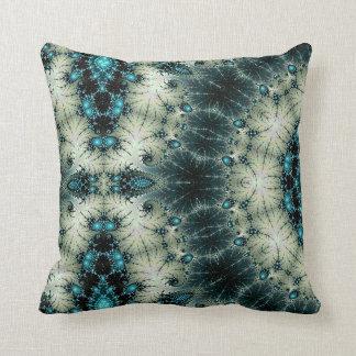 turquoise and black kaleidoscope design pillow