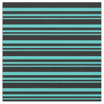 [ Thumbnail: Turquoise and Black Lines Pattern Fabric ]