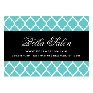 Turquoise and Black Modern Moroccan Lattice Business Card Template