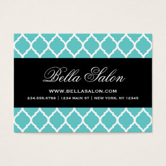 Turquoise and Black Modern Moroccan Lattice Business Card