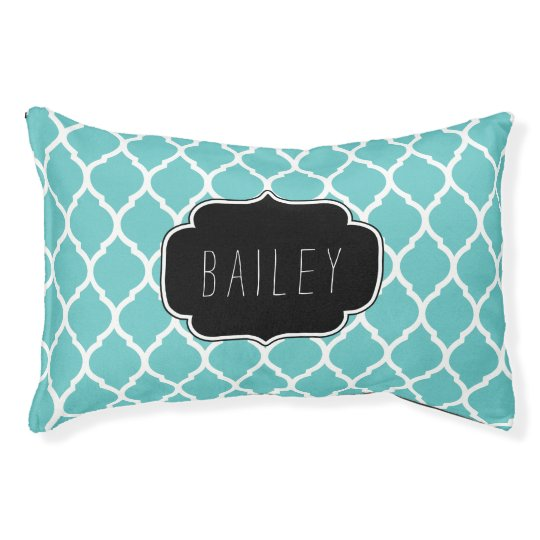 Cot In A Box Morocco Turquoise: Turquoise And Black Moroccan Quatrefoil Monogram Pet Bed