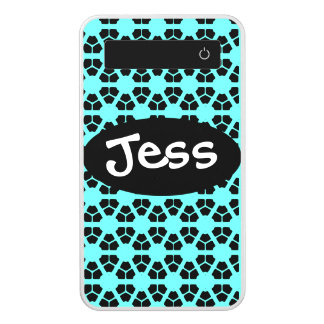 turquoise and black named power bank