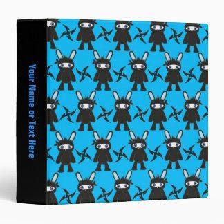 Turquoise and Black Ninja Bunny Pattern Binder