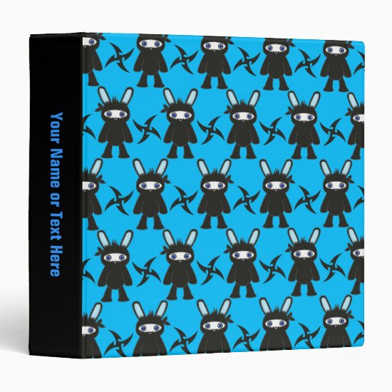 Turquoise and Black Ninja Bunny Pattern Binder