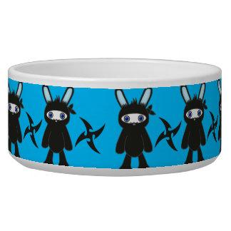 Turquoise and Black Ninja Bunny Pattern Bowl