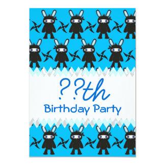 Turquoise and Black Ninja Bunny Pattern Card