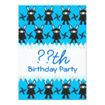 Turquoise and Black Ninja Bunny Pattern Cards