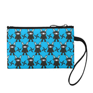 Turquoise and Black Ninja Bunny Pattern Coin Purse