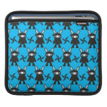 Turquoise and Black Ninja Bunny Pattern Sleeve For iPads