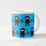 Turquoise and Black Ninja Bunny Pattern Jumbo Mug