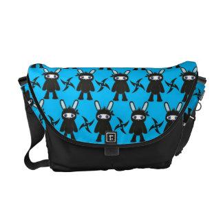 Turquoise and Black Ninja Bunny Pattern Messenger Bag
