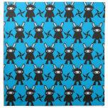 Turquoise and Black Ninja Bunny Pattern Printed Napkins