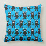 Turquoise and Black Ninja Bunny Pattern Throw Pillows