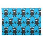 Turquoise and Black Ninja Bunny Pattern Placemats