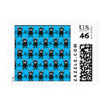 Turquoise and Black Ninja Bunny Pattern Postage Stamp