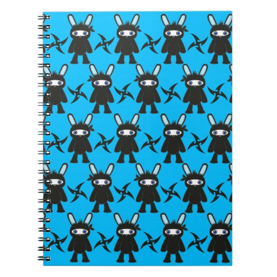 Turquoise and Black Ninja Bunny Pattern Spiral Notebook