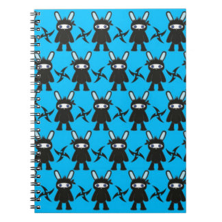 Turquoise and Black Ninja Bunny Pattern Spiral Notebooks