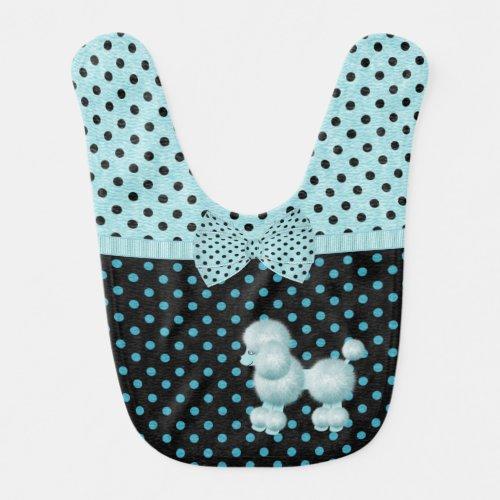 Turquoise and Black Polka Dot Poodle Baby Bib