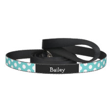 Turquoise and Black Polka Dots Monogram Pet Lead