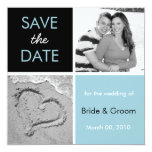 Turquoise and Black Save the Date Photo Cards Custom Announcement