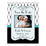 Turquoise and Black Save the Date Photo Postcards