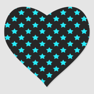 Turquoise and Black Star Pattern Heart Sticker