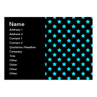 Turquoise and Black Star Pattern Large Business Cards (Pack Of 100)