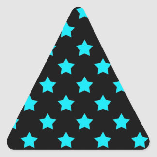 Turquoise and Black Star Pattern Triangle Sticker