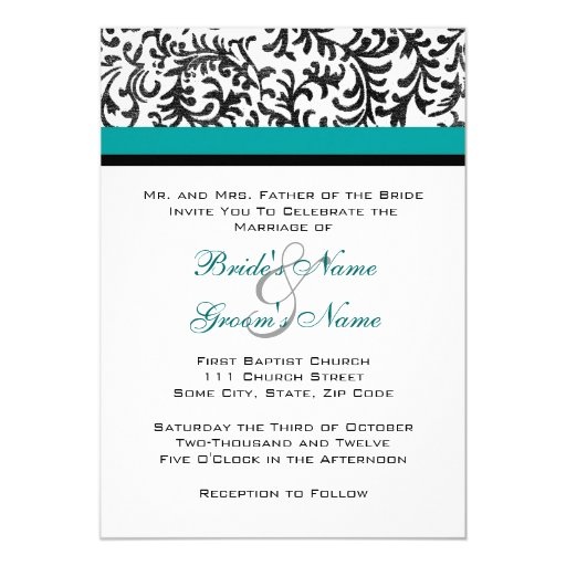 "Turquoise and Black Wedding Invitation 5"" X 7"" Invitation Card"