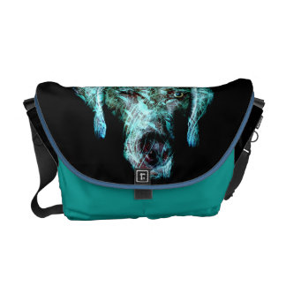 Turquoise and black weimaraner messanger bag