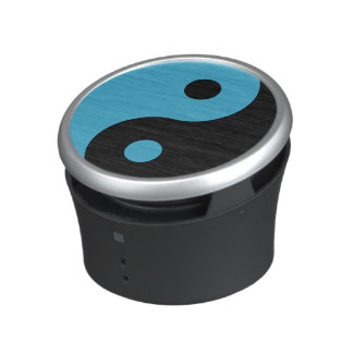 Turquoise and Black Yin Yang Symbol Speaker
