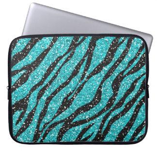 Turquoise and Black Zebra Print Laptop Sleeve